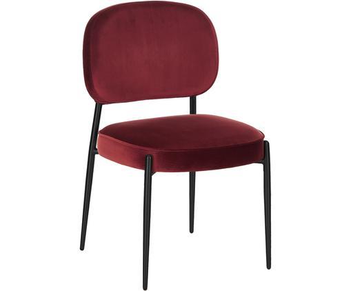 Samt-Polsterstuhl Viggo, Bezug: Samt (Polyester) 50.000 S, Samt Dunkelrot, Beine Schwarz, B 49 x T 66 cm