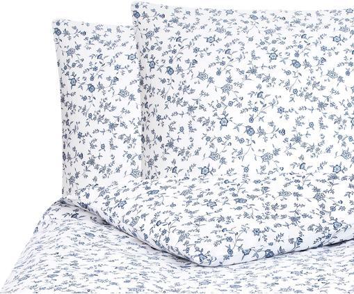 Renforcé-Bettwäsche Anja mit Blumenmuster, Webart: Renforcé, Weiß, Blau, 200 x 200 cm