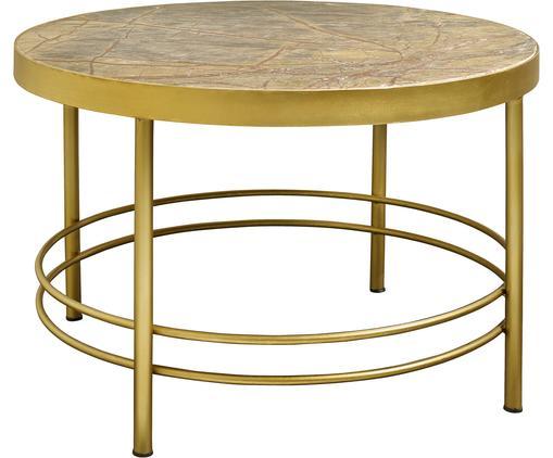 Runder Marmor-Beistelltisch Jungle, Gestell: Metall, lackiert, Tischplatte: Marmor, Gestell: Goldfarben  Tischplatte: Gelb, marmoriert, Ø 80 x H 50 cm