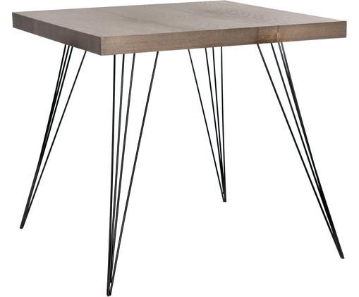 Kleiner quadratischer Esstisch Wolcott mit Metall-Beinen, Platte: Mitteldichte Holzfaserpla, Füße: Eisen, lackiert, Dunkelbraun, Schwarz, B 80 x T 80 cm
