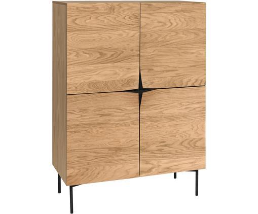 Highboard Filip aus Eichenholzfurnier, Korpus: Sperrholz mit Eichenholzf, Füße: Metall, pulverbeschichtet, Eichenholz, Schwarz, 100 x 140 cm