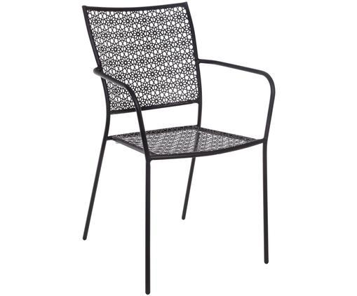 Krzesło ogrodowe Jodie, Stal pokryta proszkiem epoksydowym, Antracytowy, 57 x 89 cm