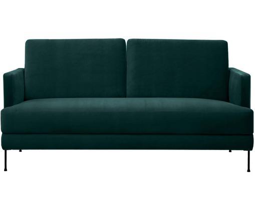 Sofa z aksamitu Fluente (2-osobowa), Tapicerka: aksamit (wysokiej jakości, Stelaż: lite drewno sosnowe, Nogi: metal lakierowany, Ciemny zielony, S 168 x G 83 cm