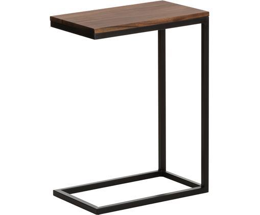 Tavolino Millie, Piano d'appoggio: legno di acacia, Struttura: metallo verniciato a polv, Piano d'appoggio: legno d'acacia verniciato Struttura: nero opaco, Larg. 45 x Alt. 62 cm