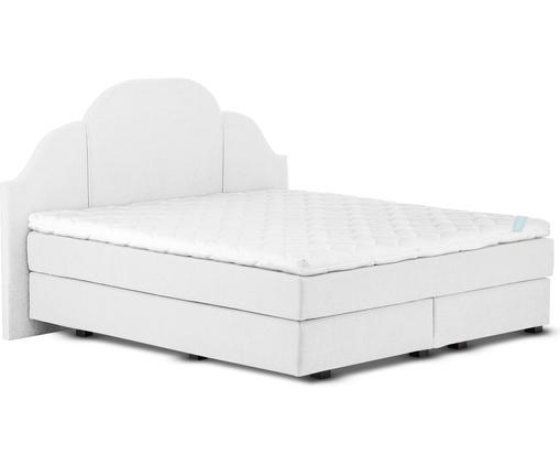 Łóżko kontynentalne premium Gloria, Nogi: lite drewno bukowe, lakie, Jasny szary, 200 x 200 cm