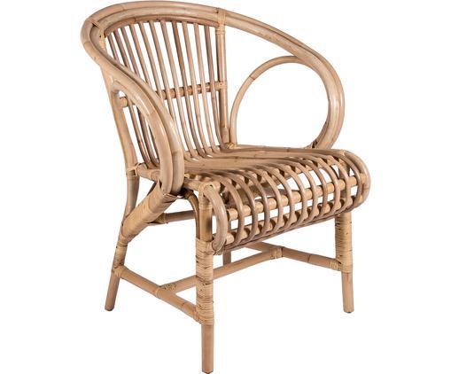 Sedia con braccioli in rattan Alona, Rattan, Marrone chiaro, L 62 x A 82 cm