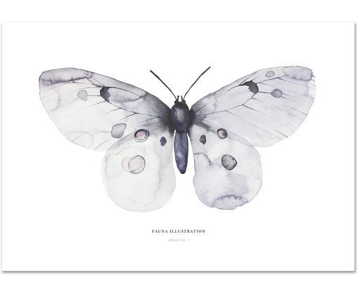 Poster Apollo, Stampa digitale su carta, 200 g/m², Blu grigio, bianco, Larg. 30 x Alt. 42 cm