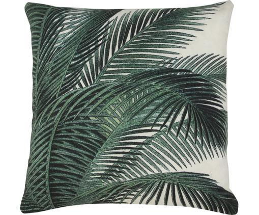 Cuscino con imbottitura e motivo tropicale Vivi, Verde, bianco, Larg. 45 x Lung. 45 cm