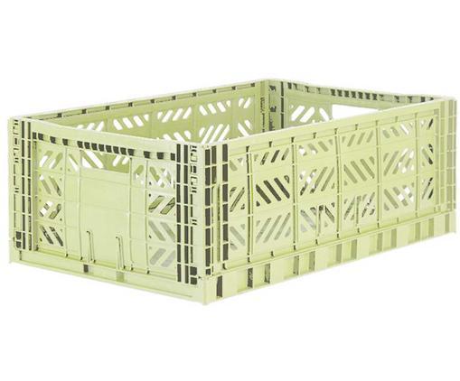 Cesta grande pieghevole ed impilabile Melon, Materiale sintetico riciclato, Verde melone, Larg. 60 x Alt. 22 cm