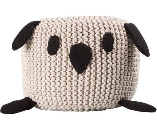 Pouf Bunny, Bezug: Baumwolle, Beige, Schwarz, Ø 40 x H 30 cm