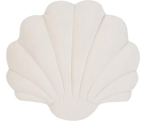 Cuscino in velluto Shell, Retro: 100% cotone, Bianco crema, Larg. 28 x Lung. 30 cm