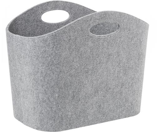 Aufbewahrungskorb Mascha, Filz aus recyceltem Kunststoff, Grau, 30 x 45 cm