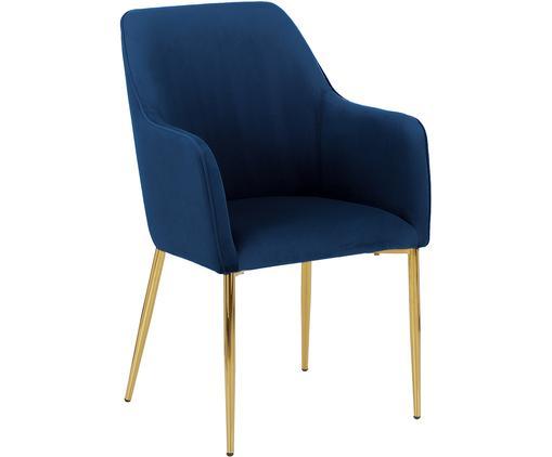 Sedia con braccioli  in velluto Ava, Rivestimento: velluto (poliestere) 50.0, Gambe: metallo, zincato, Blu scuro, Larg. 57 x Prof. 62 cm