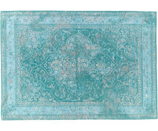Alfombra de chenilla tejida a mano Palermo, estilo vintage, Parte superior: 95%algodón, 5%poliéster, Reverso: 100%algodón, Turquesa, azul claro, crema, An 160 x L 230 cm (Tamaño M)