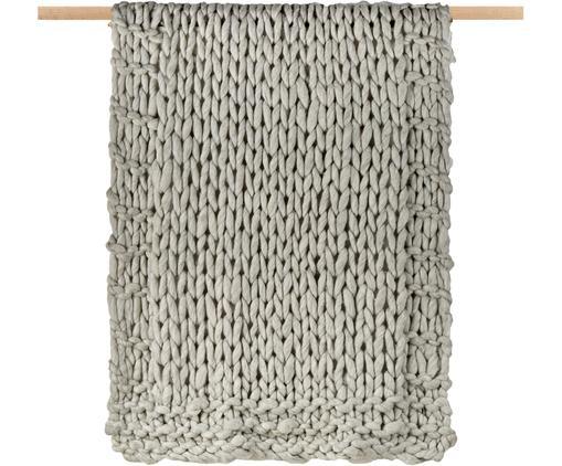 Kleines Grobstrick-Wollplaid Fern, 60% Wolle, 40% Acryl, Grau, 150 x 3 cm
