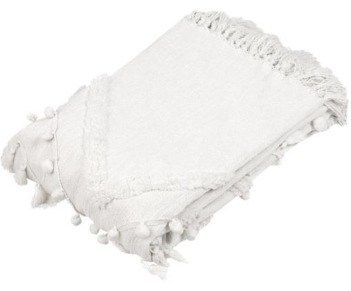 Baumwollplaid Pana mit Quasten und Pompoms, 100% Baumwolle, Cremeweiß, 130 x 170 cm