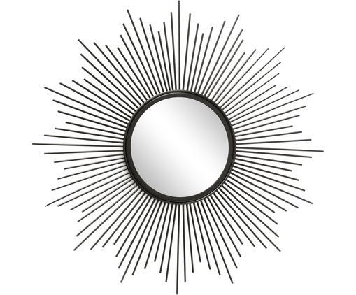 Sonnenspiegel Brooklyn in Schwarz, Rahmen: Metall, beschichtet, Spiegelfläche: Spiegelglas, Schwarz, Ø 50 x T 3 cm