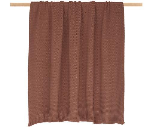 Plaid in cucitura a maglia Adalyn, 100% cotone, Rosso ruggine, Larg. 150 x Lung. 200 cm