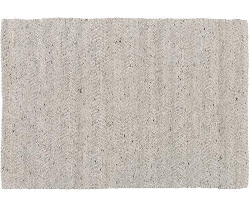 Tappeto in lana tessuto a mano Clara, Grigio melangiato, crema