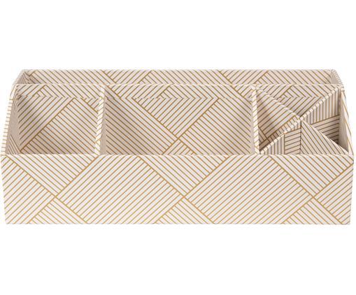 Organizer da ufficio Elisa, Solido, cartone laminato, Dorato , bianco, L 33 x A 13 cm