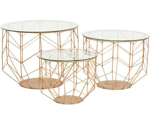 Metall-Couchtisch 3er-Set Wire mit Glasplatte, Gestell: Metall, pulverbeschichtet, Transparent, Messingfarben, Sondergrößen