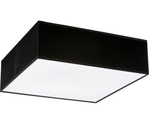 Plafonnier en plastique noir Mitra, Abat-jour: noir Tamiseur: blanc