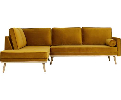 Canapé d'angle 3 places velours Saint, Velours jaune moutarde