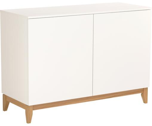 Cassettiera con piedini in legno Blanco, Piedini: legno di quercia massicci, Bianco, marrone, Larg. 120 x Alt. 85 cm