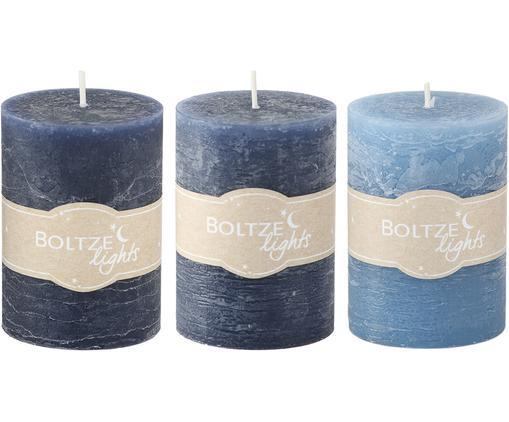 Komplet świec Birara, 3 elem., Odcienie niebieskiego, Ø 7 x W 10 cm