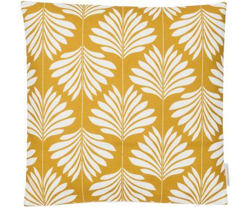 Housse de coussin en lin jaune et blanc Agga, Jaune, blanc