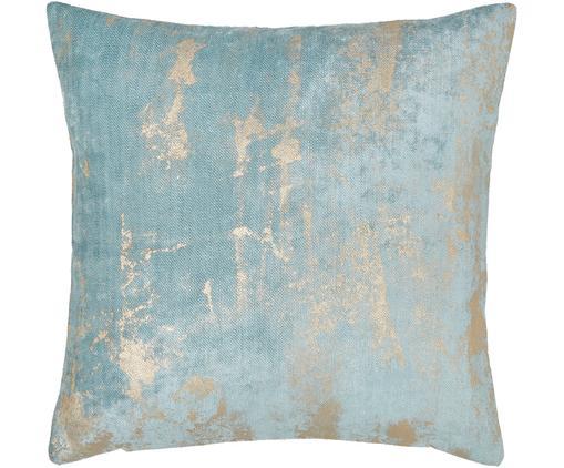 Samt-Kissenhülle Shiny mit schimmerndem Vintage Muster, Polyestersamt, Helles Türkis, 40 x 40 cm