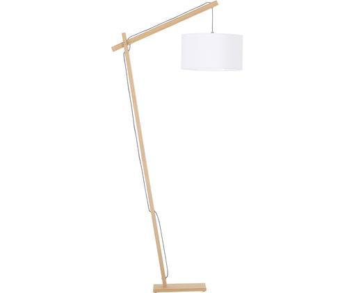 Skandi-Leselampe Woody, Lampenschirm: Baumwollgemisch, Lampenfuß: Metall mit Echtholzfurnie, Lampenfuß: HolzfurnierLampenschirm: Weiß, 81 x 166 cm