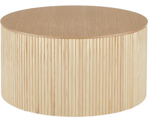 Couchtisch Nele mit Stauraum, Mitteldichte Holzfaserplatte (MDF) mit Eschenholzfurnier, Eschenholzfurnier, ∅ 70 x H 36 cm
