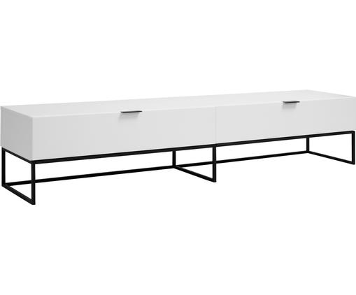 Weisses TV-Lowboard Kobe, Korpus: Weiss, matt Gestell und Griffe: Schwarz, matt, 200 x 40 cm
