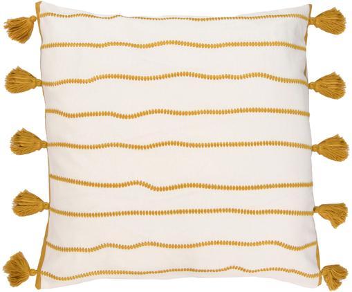Poszewka na poduszkę z chwostami Blanket, Bawełna, Żółty, biały, S 50 x D 50 cm