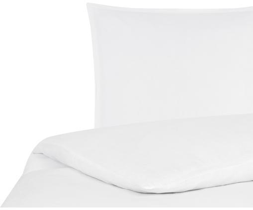 Gewaschene Leinen-Bettwäsche Breezy in Weiß, 52% Leinen, 48% Baumwolle Mit Stonewash-Effekt für einen weichen Griff, Weiß, 155 x 220 cm