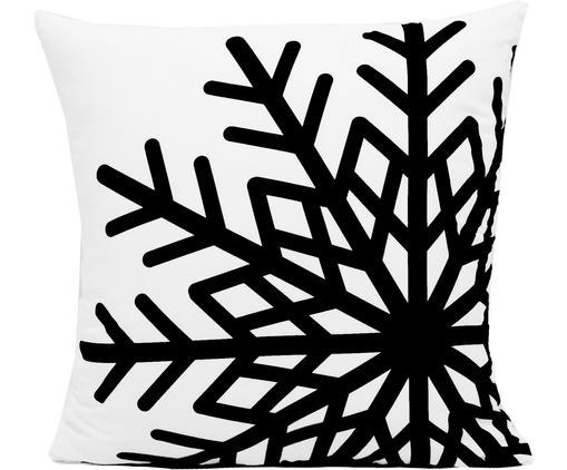 Kissenhülle Snowflake, Polyester, Schwarz, Weiß, 45 x 45 cm