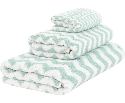 Set 3 asciugamani con motivo a zigzag Liv, Verde menta, bianco crema, Diverse dimensioni