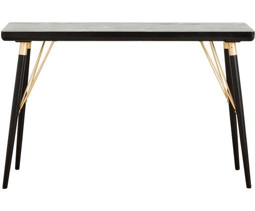 Consolle con elementi dorati Jana, Mensola: pannello di fibre a media, Gambe: metallo verniciato, Nero, dorato, Larg. 120 x Prof. 40 cm