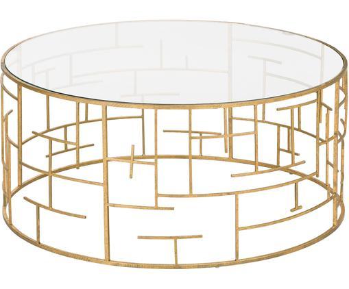 Goldfarbener Couchtisch Nola mit Glasplatte, Tischplatte: Glas, Gestell: Metall, beschichtet, Goldfarben, Ø 90 x H 40 cm