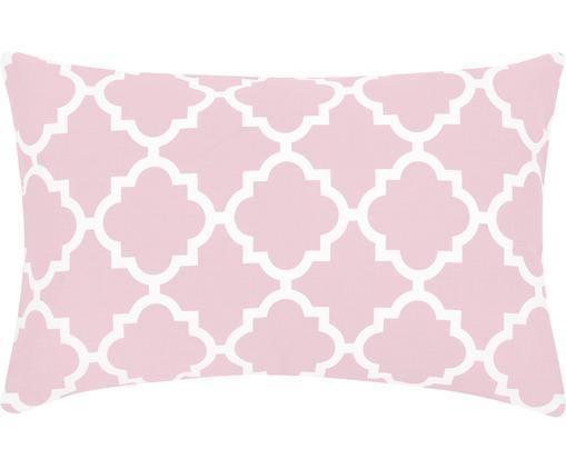 Housse de coussin à imprimé graphique Lana, Rose, blanc
