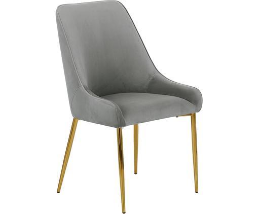 Chaise rembourrée en velours avec pieds dorésAva, Gris