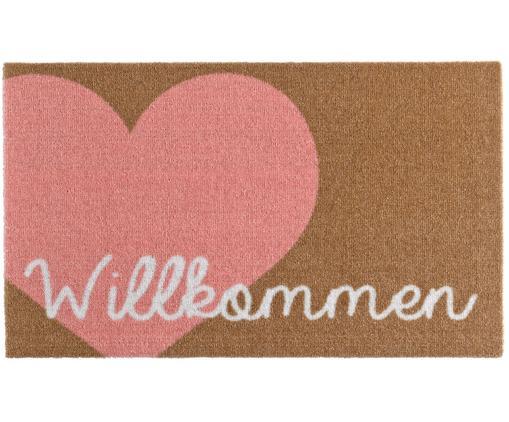 Polyamid-Fußmatte Heart, Oberseite: Polyamid, Unterseite: PVC, Pink, Braun, Weiß, 50 x 70 cm