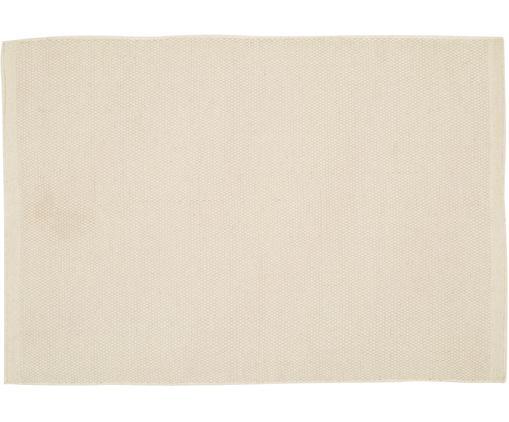 Handgewebter Wollteppich Delight in Wollweiß, Flor: 90% Wolle, 10% Baumwolle, Wollweiß, B 140 x L 200 cm (Größe S)