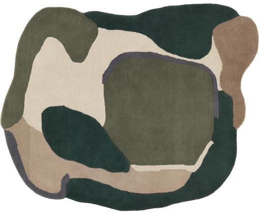 Wollteppich Oblivian mit Hoch-Tief-Effekt in Grün-Beige, Flor: Wolle, Grün, Beige, B 140 x L 180 cm (Größe S)