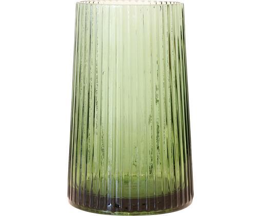 Vaso in vetro Ribbed, Vetro, Verde, Ø 13 x Alt. 20 cm