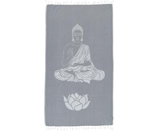 Hamamdoek Buddha, Katoen, lichte kwaliteit, 180 g/m², Grijs, gebroken wit, 100 x 180 cm