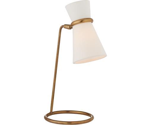 Schreibtischlampe Paulo aus Leinen, Lampenfuß: Metall, vermessingt, Lampenschirm: Leinen, Lampenfuß: Messing, Antik-Finish<br>Lampenschirm: Weiß, 20 x 43 cm