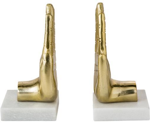 Komplet podpórek do książek Hand, 2 elem., Odcienie złotego, marmur, S 20 x W 22 cm