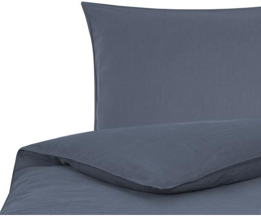 Gewaschene Leinen-Bettwäsche Carla, 52% Leinen, 48% Baumwolle Mit Stonewash-Effekt, Graublau, 135 x 200 cm